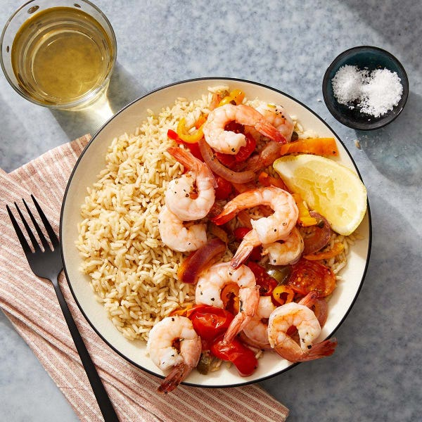 Veracruz-Style Shrimp with Vegetables & Brown Rice