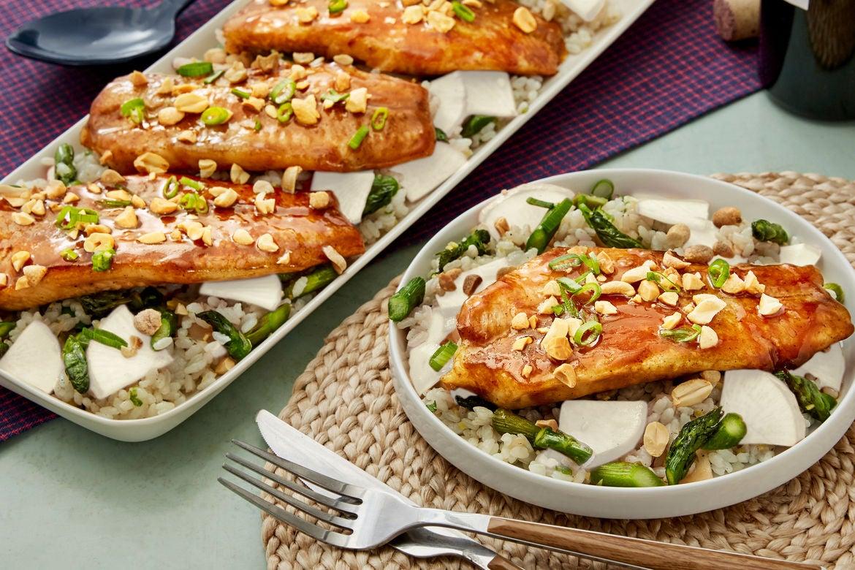 Hoisin-Glazed Catfish with Asparagus, Daikon Radish, & Sushi Rice