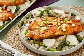 Hoisin-Glazed Catfish with Asparagus, Daikon Radish, & Sushi Rice
