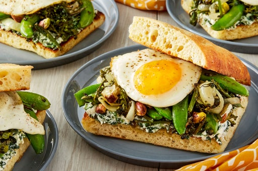 Spring Vegetable & Egg Sandwiches with Snap Peas & Spinach Ricotta
