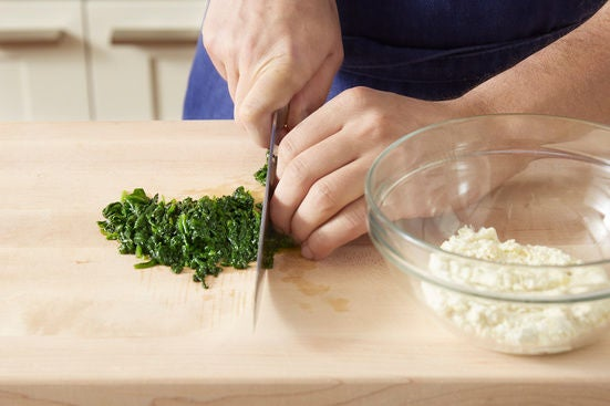 Cook & chop the spinach: