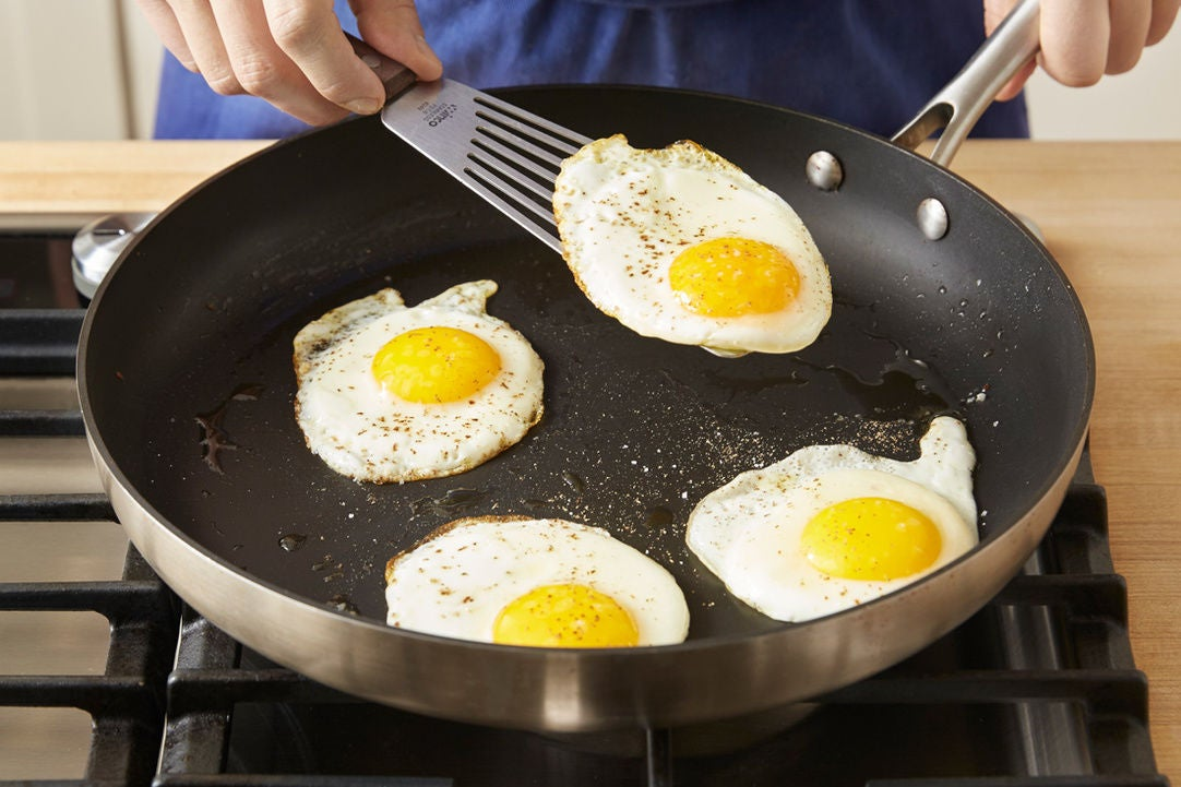 Cook the eggs & serve the dish: