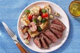 Italian-Style Steaks & Panzanella with Olives & Parmesan