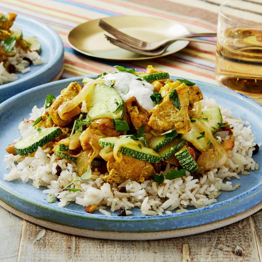 Persian-Style Chicken & Crispy Rice with Summer Squash, Currants, & Lemon Yogurt