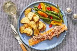 Seared Salmon & Shallot-Dijon Vinaigrette with Roasted Potatoes & Sautéed Vegetables
