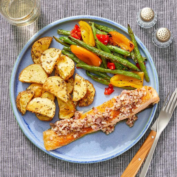 Seared Salmon & Shallot-Dijon Vinaigrette with Roasted Potatoes & Sautéed Vegetables