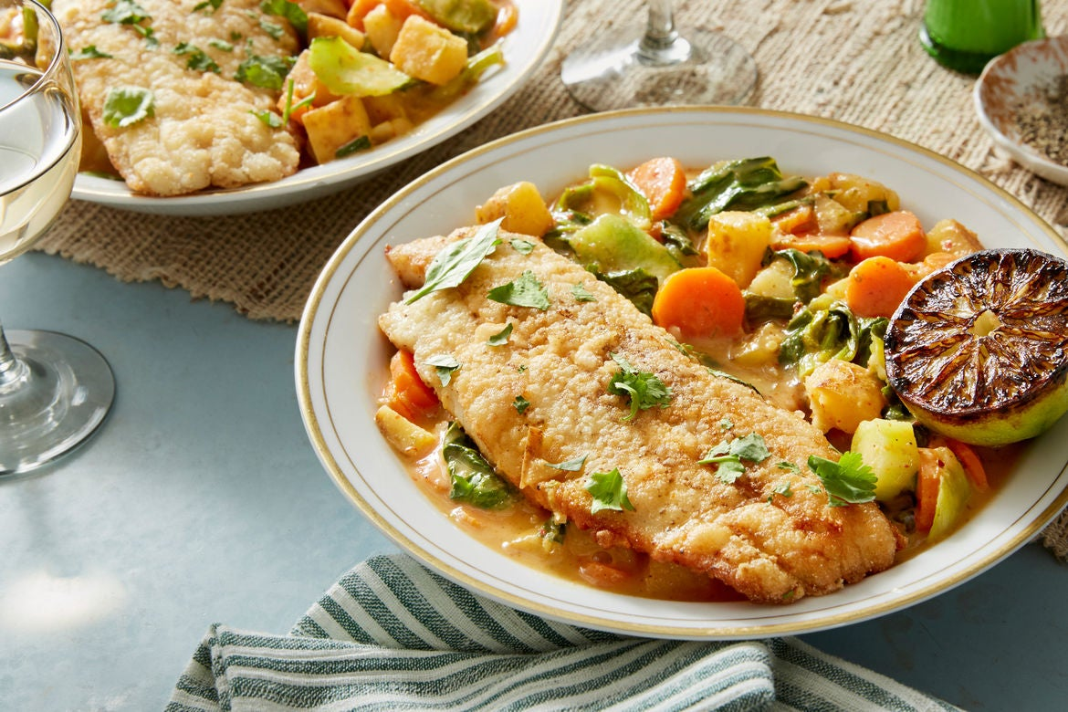 Blue apron nz - Crispy Catfish Spicy Vegetable Curry With Charred Lime