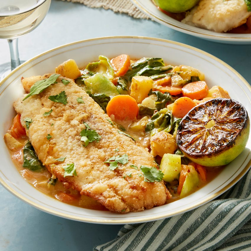 Crispy Catfish & Spicy Vegetable Curry with Charred Lime