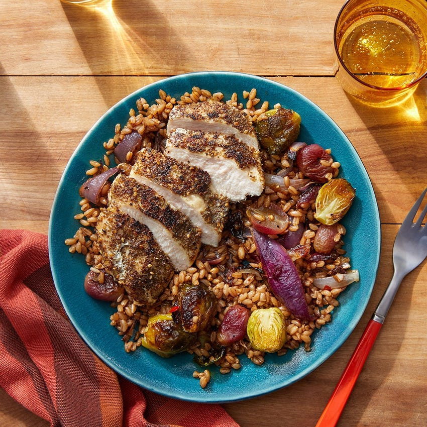 Za'atar Chicken & Farro with Roasted Grapes, Onion & Brussels Sprouts