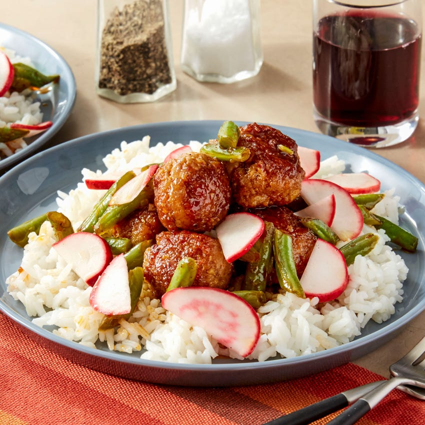 Ginger Pork Meatballs with Yakiniku Sauce & Green Beans