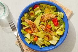 Seared Chicken & Pear Salad with Roasted Vegetables & Curry-Mustard Dressing