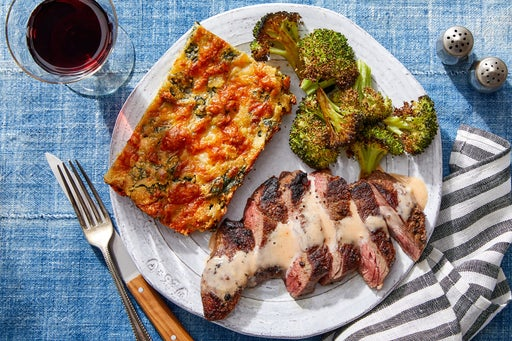 Seared Steaks & Roasted Broccoli with Cheesy Spinach Spoonbread