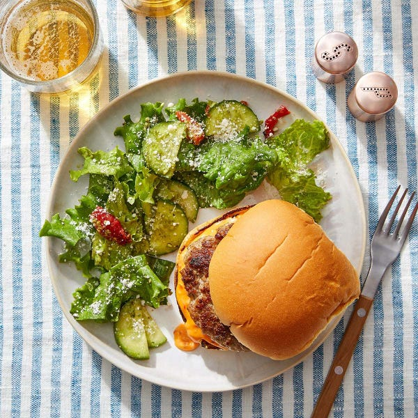 Tuscan-Spiced Pork Burgers with Pesto-Dressed Salad