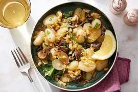 Mushroom & Kale Gnocchi with Crispy Onion Gremolata