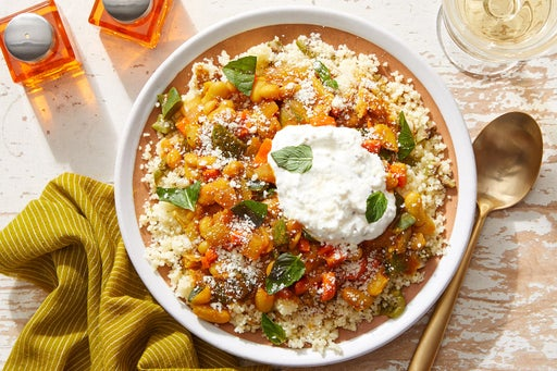 Moroccan-Style Vegetable Chili with Couscous & Garlic Labneh