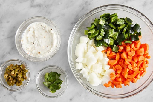 Prepare the ingredients & make the garlic labneh: