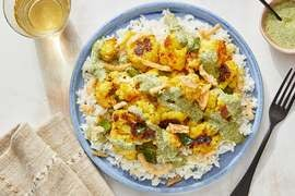 Curried Cauliflower with Garlic Rice & Cilantro-Yogurt Sauce