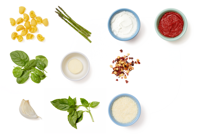 Creamy Lumaca Rigata Pasta with Asparagus & Goat Cheese
