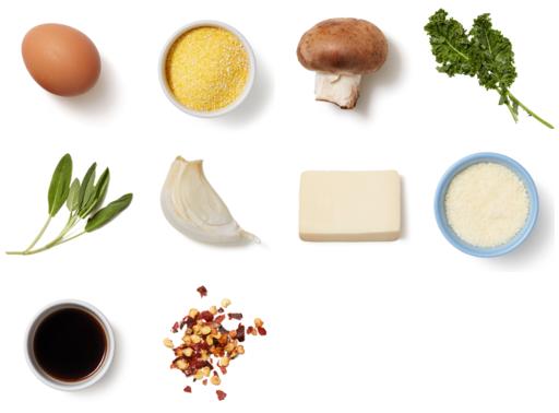 Baked Polenta & Eggs with Mushrooms & Crispy Sage