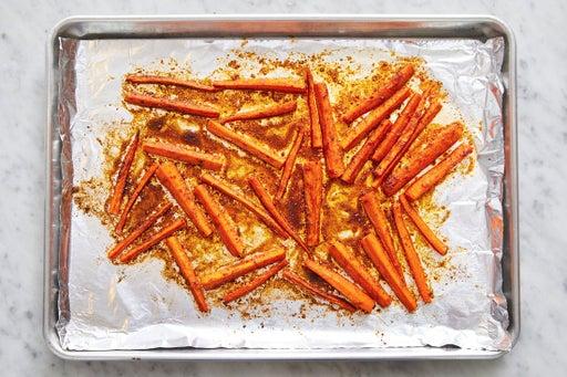 Prepare & roast the carrots: