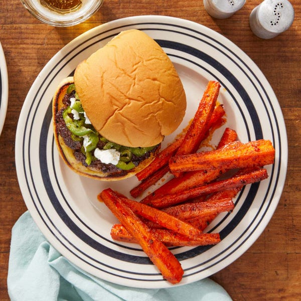 Jalapeño Burgers with Goat Cheese & Smoky Roasted Carrots