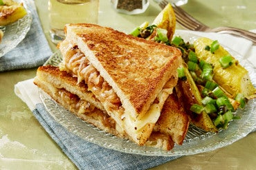 Caramelized Onion Grilled Cheese Sandwiches with Summer Squash & Celery Salsa