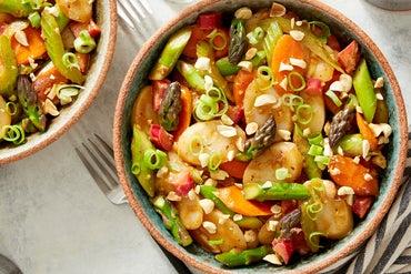 Spicy Korean Rice Cakes with Rhubarb & Asparagus