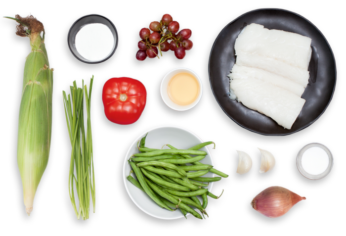 Pan-Seared Cod with Pickled Grapes & Summer Succotash ingredients