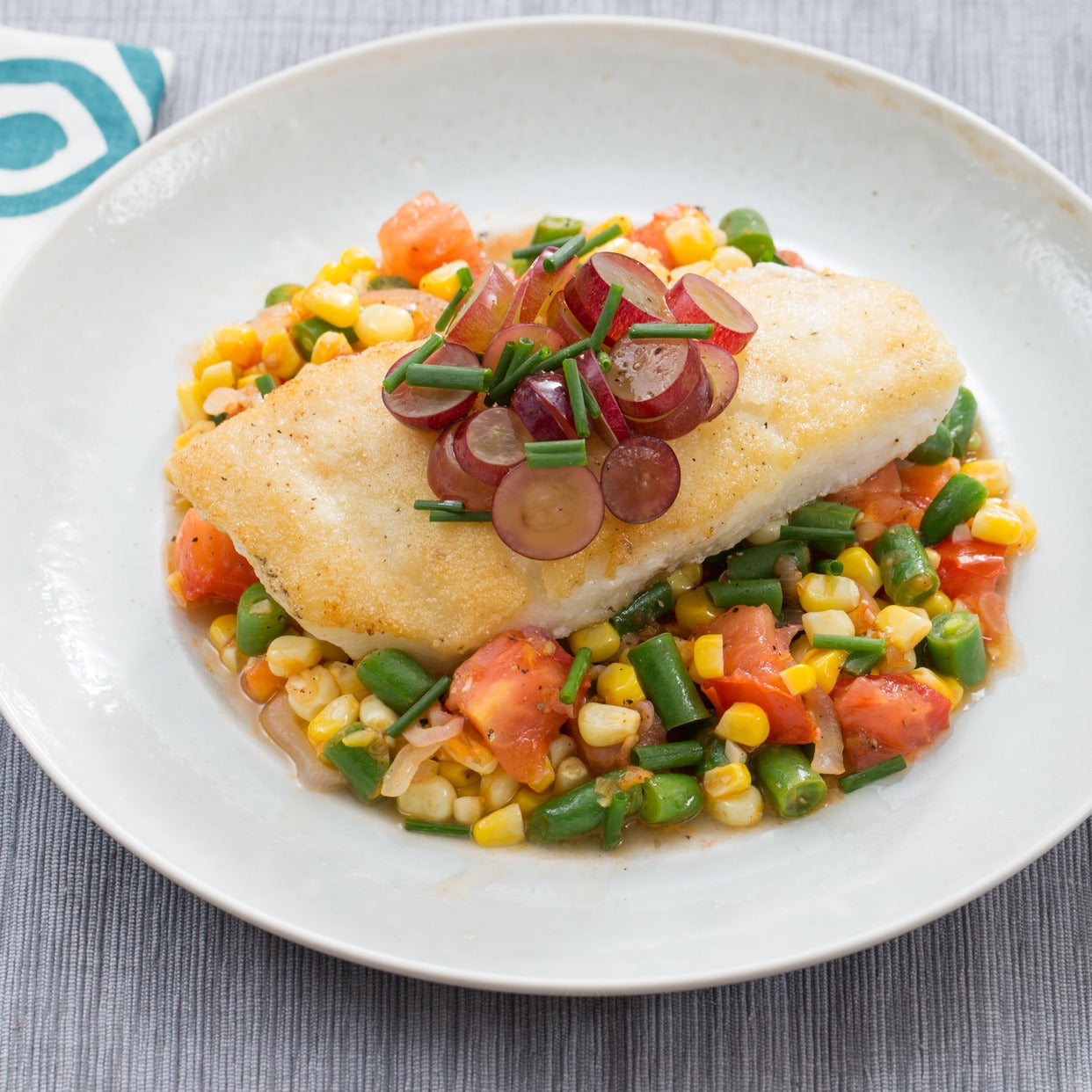 Pan-Seared Cod with Pickled Grapes & Summer Succotash