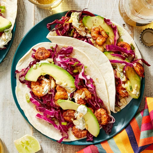 Veracruz-Style Shrimp Tacos with Cilantro & Lime Sour Cream