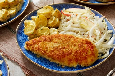 Chicken Schnitzel with Fingerling Potato Salad & Marinated Napa Cabbage