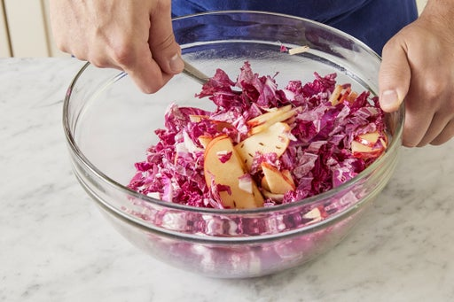 Toast the caraway seeds & marinate the cabbage: