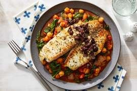 Garlic & Olive Tilapia over Stewed Chickpeas & Vegetables