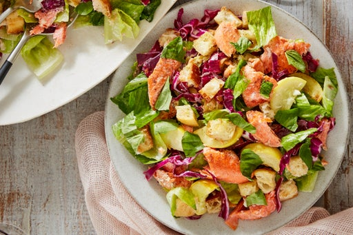 Salmon Caesar Salad with Parmesan Croutons & Summer Squash