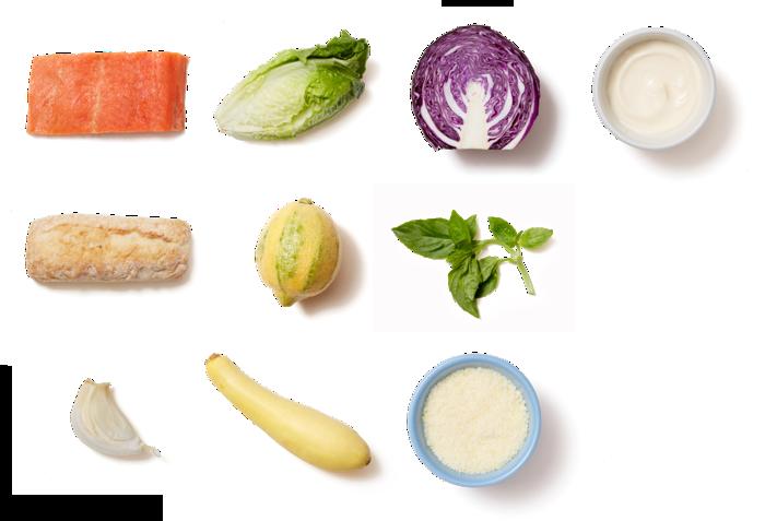 Salmon Caesar Salad with Parmesan Croutons & Summer Squash