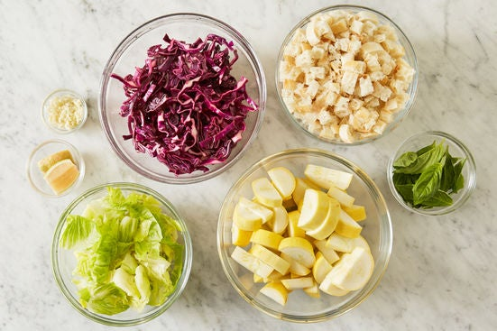 Prepare the ingredients & marinate the cabbage: