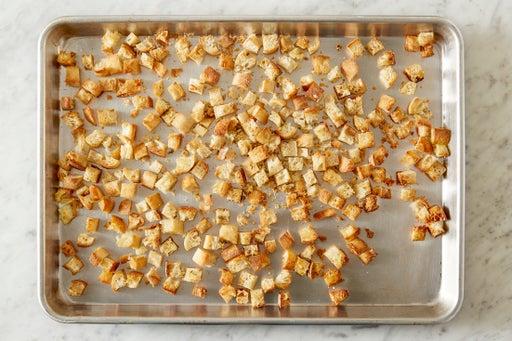 Make the parmesan croutons: