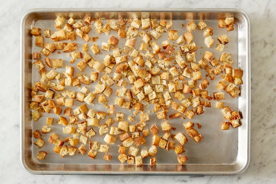 Make the parmesan croutons: