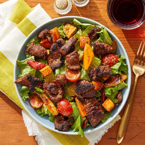 Mexican-Spiced Beef Salad with Roasted Vegetables & Creamy Cilantro Dressing