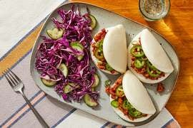 Sweet & Spicy Turkey Steam Buns with Cabbage & Cucumber Slaw