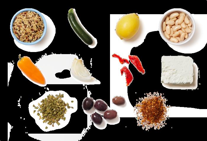 Za'atar White Bean & Rice Bowls with Zucchini, Sweet Peppers & Marinated Feta