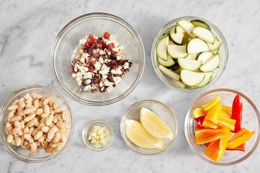 Prepare the ingredients & marinate the feta: