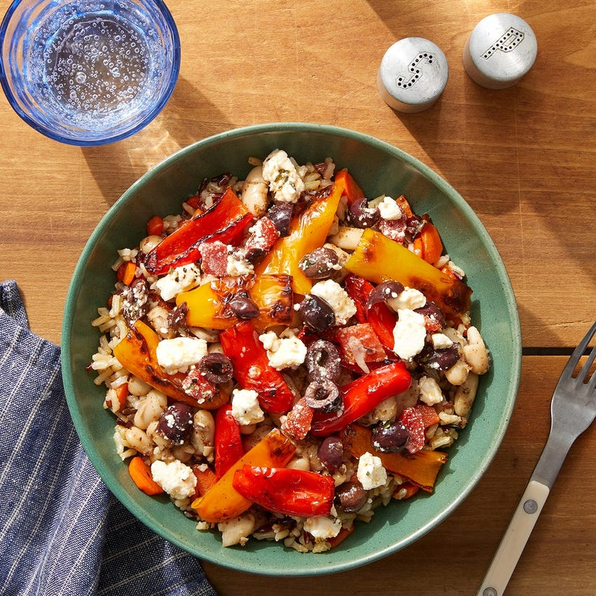 Za'atar White Bean & Rice Bowls with Carrots, Sweet Peppers & Marinated Feta