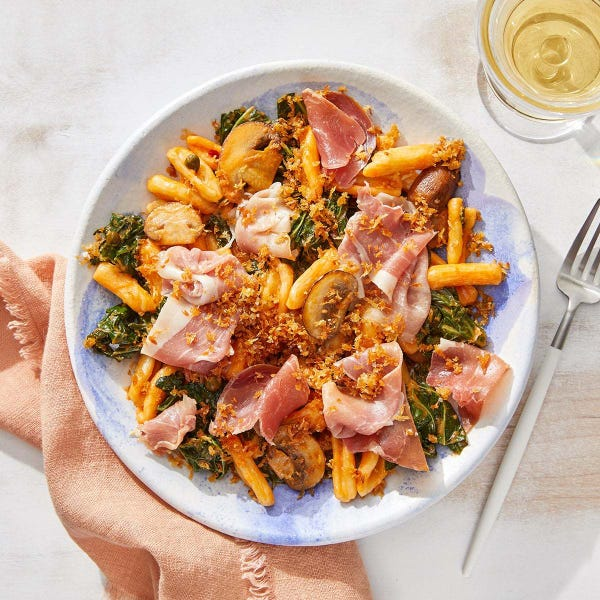 Creamy Prosciutto & Tomato Pasta with Brown Butter Breadcrumbs