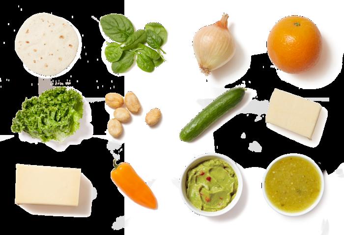 Smoked Gouda & Vegetable Quesadillas with Guacamole-Dressed Salad