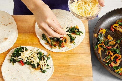 Assemble & cook the quesadillas: