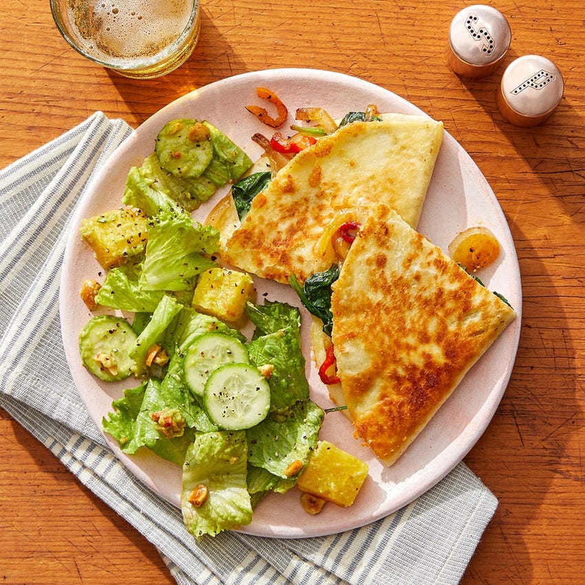 Smoked Gouda & Vegetable Quesadillas with Guacamole-Dressed Salad