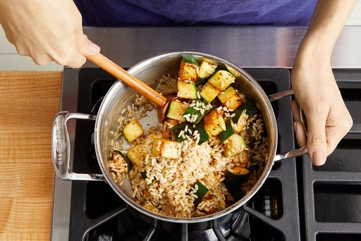 Cook the zucchini & finish the rice: