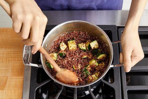 Cook the zucchini & finish the quinoa: