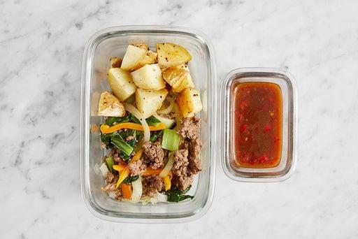 Assemble & Store the Sautéed Beef & Vegetables: